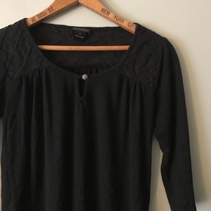 Lucky Brand Black Rayon Soft Blouse Lattice Detail
